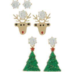Brighten the Season 3-pc. Reindeer & Trees Earrings