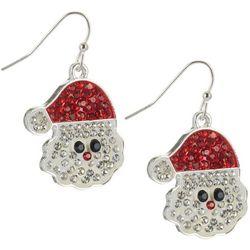 Brighten the Season Rhinestone Santa Face Earrings