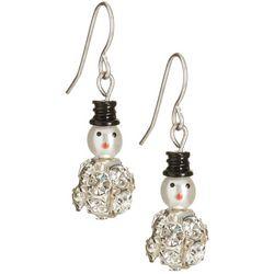 Brighten the Season Rhinestone Snowman Earrings