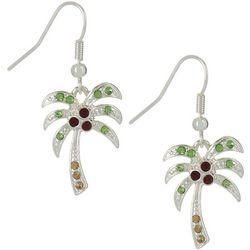 Brighten the Season Rhinestone Holiday Palm Tree Earrings