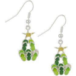 Brighten the Season Christmas Tree Green Flip Flop Earrings