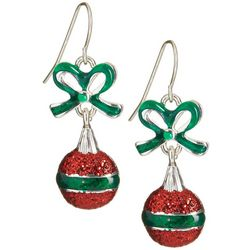 Brighten the Season Red & Green Christmas Ornament Earrings