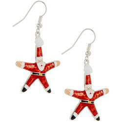 Brighten the Season Starfish Santa Earrings