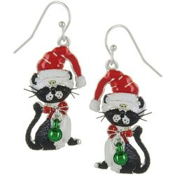 Brighten the Season Cat In A Santa Hat Earrings