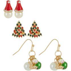 Brighten the Season Trees, Santa Hats & Bells Earring Set