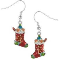 Brighten the Season Puppy Holiday Stocking Earrings