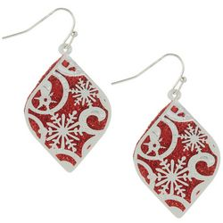 Brighten the Season Red Glitter Snowflake Earrings