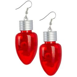 Brighten the Season Holiday Red Light Up Bulb Earrings
