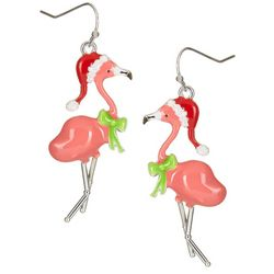 Brighten the Season Pink Flamingo Holiday Earrings