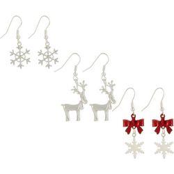 Brighten the Season Snowflake Reindeer Bows Earring Set