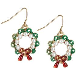 Brighten the Season Holiday Faux Pearls Wreath Earrings