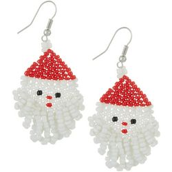 Brighten the Season Seed Bead Santa Earrings