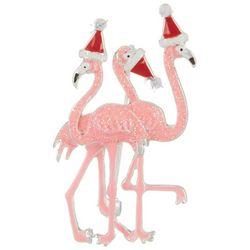 Brighten the Season Triple Sparkle Flamingo Pin