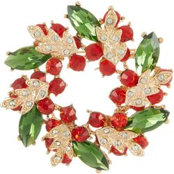 Brighten the Season Green & Red Holiday Wreath Pin