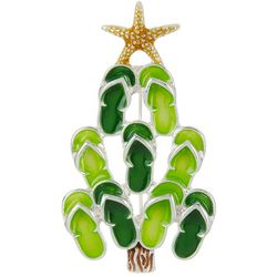 Brighten the Season Green Flip Flops Christmas Tree Pin