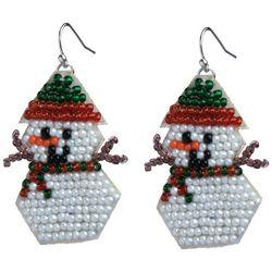 Brighten the Season Holiday Snowman Beaded Earrings