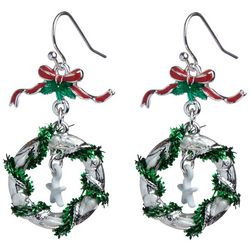 Brighten the Season Holiday Wreath & Bow Earrings