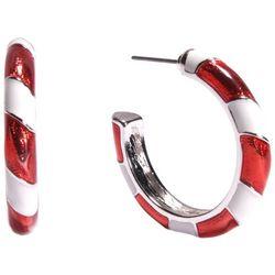Brighten the Season Candy Cane Stripes Hoop Earrings