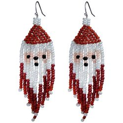 Brighten the Season Seed Bead Holiday Santa Earrings