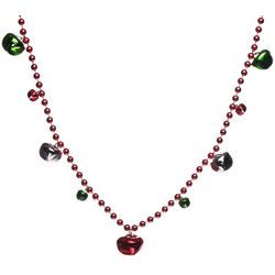 Brighten the Season Jingle Bell  Red Beaded Necklace