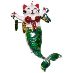 Brighten the Season Holiday Cat Mermaid Pin
