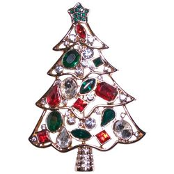 Brighten the Season Multi-Faceted Stones Christmas Tree Pin