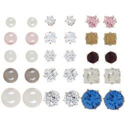 Mega Box Multiples CZ, Rhinestone & Faux Pearl Earring Set