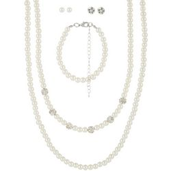 Mega Box Multiples Faux Pearl & Rhinestone Necklace Set