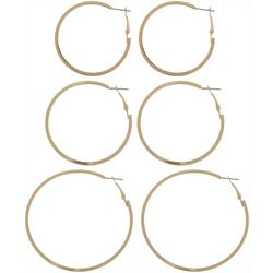 Nautica Gold Tone Clutchless Hoop Earring Set