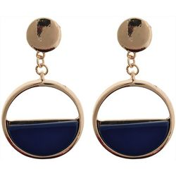 Nautica Navy & Gold Tone Ring Post Top Earrings