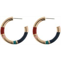 Nautica 32mm Gold Tone Multi C Hoop Earrings