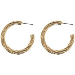 Nautica Gold Tone Textured C Hoop Earrings