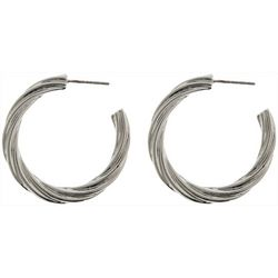 Nautica Silver Tone Textured C Hoop Earrings