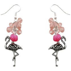Florida Roots Pink Beads & Flamingo Charm Earrings