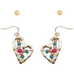 Believe In Stud & Heart Gold Tone Earring Set