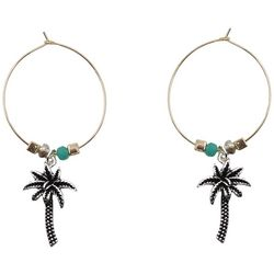 Believe In Palm Tree Charm Wire Hoop Earrings