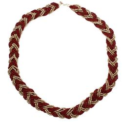 COLLEGIATE Garnet Red & Gold Tone Seed Bead Braided Necklace