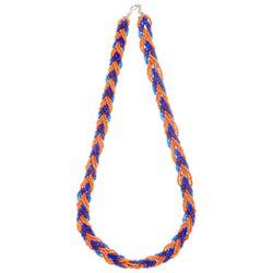 COLLEGIATE Orange & Blue Seed Bead Braided Necklace