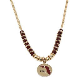 COLLEGIATE Heart & Florida Disc Pendant Beaded Necklace