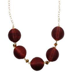 COLLEGIATE Garnet Red Round Beaded Necklace