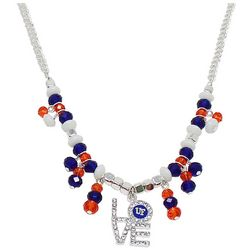 Florida Gators Love Pendant Blue & Orange Beaded Necklace