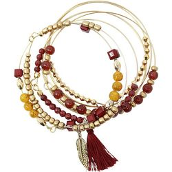 COLLEGIATE Garnet Red & Gold Tone Bangle Bracelet Set