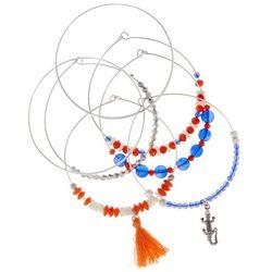 Florida Gators Orange & Blue Beaded Bangle Bracelet Set