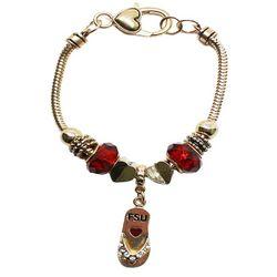 Florida State Red & Gold Tone Flip Flop Charm Bracelet
