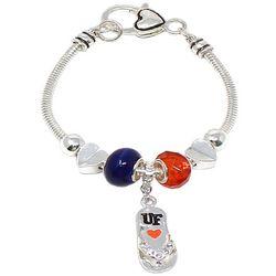 COLLEGIATE Orange & Blue Flip Flop Charm Bracelet