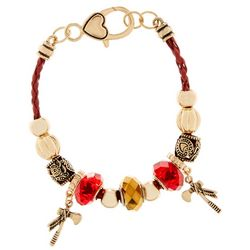 COLLEGIATE Garnet Red & Gold Tone Bead & Charm Bracelet