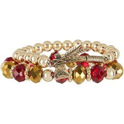 COLLEGIATE Gold Tone & Garnet Red Tomahawk Bracelet Set