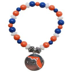 Florida Gators Orange & Blue Beaded State Charm Bracelet