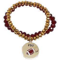 COLLEGIATE Garnet Red & Gold Tone Football Bracelet Set