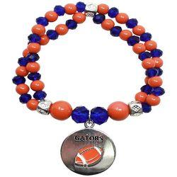 COLLEGIATE Blue & Orange Beaded Football Charm Bracelet